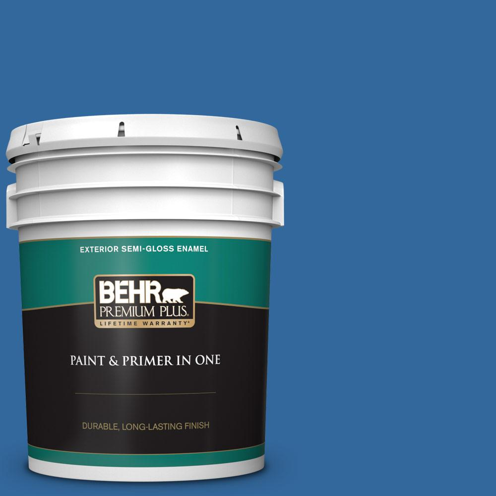 5 gal. #P500-7 Cosmic Cobalt Semi-Gloss Enamel Exterior Paint and Primer in One