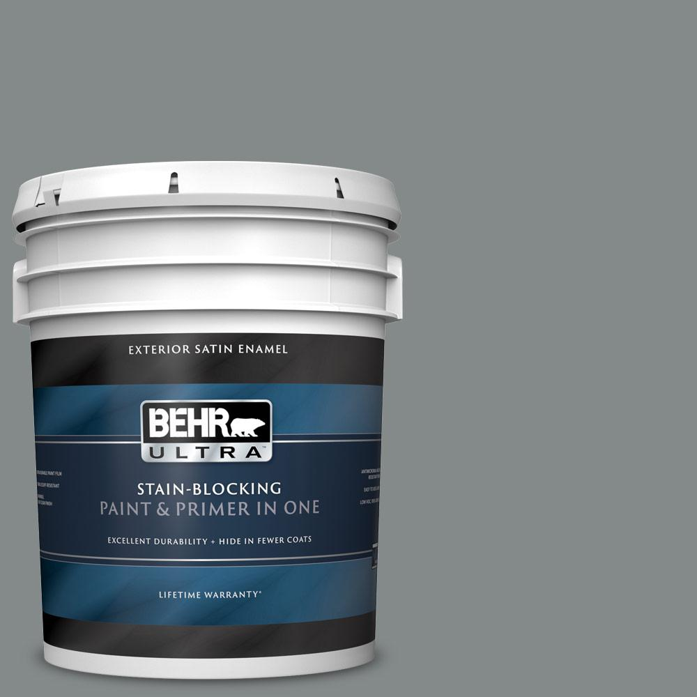5 gal. #N460-5 Slate Rock Satin Enamel Exterior Paint and Primer in One