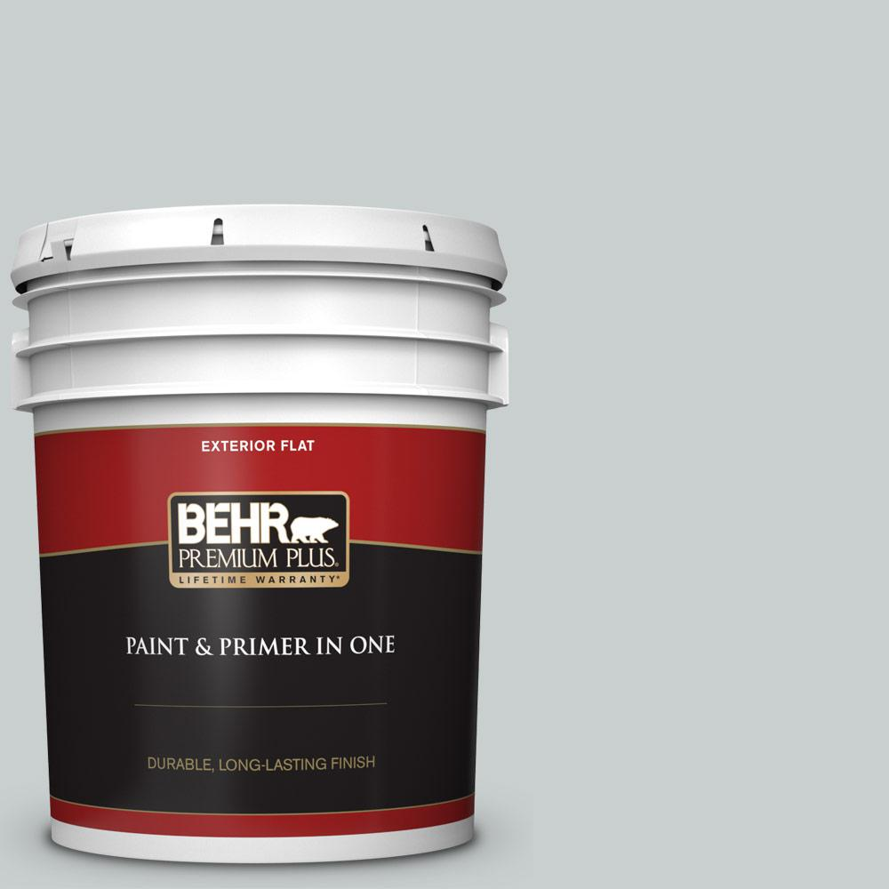 5 gal. #720E-2 Light French Gray Flat Exterior Paint and Primer in One
