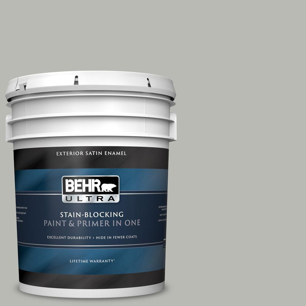 5 gal. #N380-3 Weathered Moss Satin Enamel Exterior Paint and Primer in One