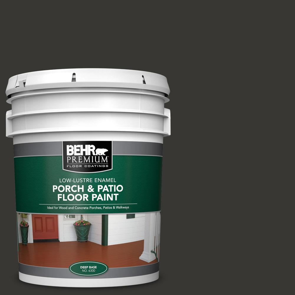 5 gal. #1350 Ultra Pure Black Low-Lustre Enamel Interior/Exterior Porch and Patio Floor Paint