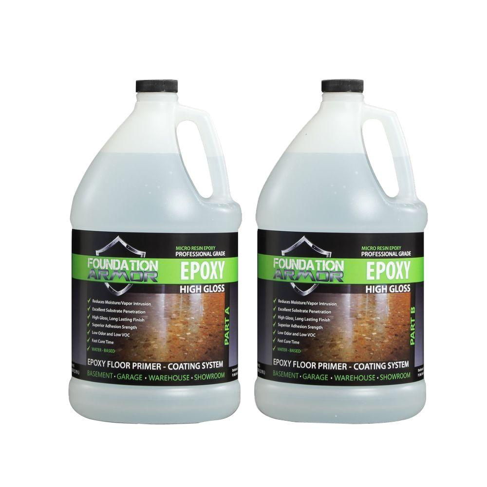 Epoxy 2 gal. Water-Based Clear High Gloss 2-Part Epoxy Primer and Top Coat for Concrete Floors
